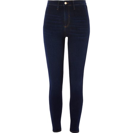 Dark blue Kaia high rise disco jeans | River Island