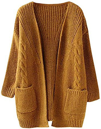 futurino Women's Cable Twist School Wear Boyfriend Pocket Open Front Cardigan Popcorn Sweaters… at Amazon Women's Clothing store