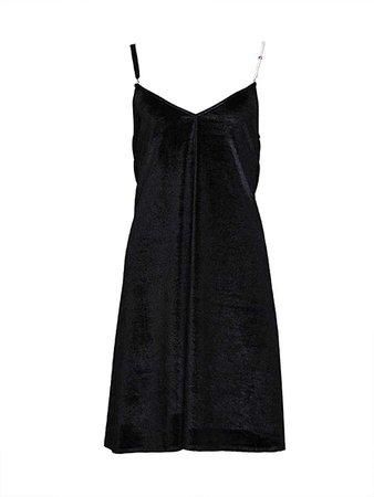 Black Velvet Cami Strap Mini Dress