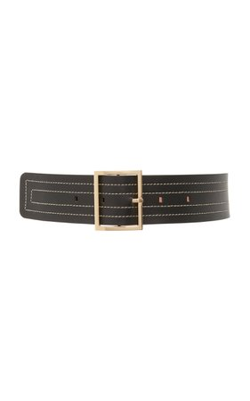 Maison Boinet Wide Stitched Leather Belt Size: 90 cm
