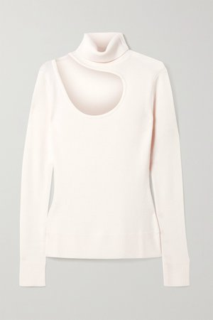 Ivory Cutout merino wool turtleneck sweater | Monse | NET-A-PORTER