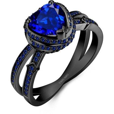 Black Dark Sapphire Heart Ring