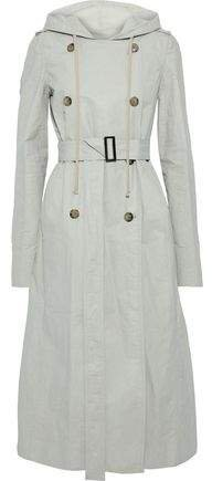 Coated Linen-blend Twill Hooded Trench Coat