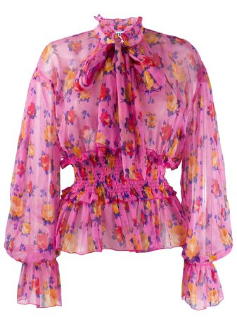 Shop pink MSGM floral-print long-sleeved blouse with Express Delivery - Farfetch