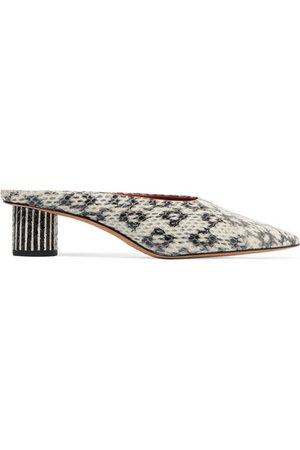 Diane von Furstenberg | Nori snake-effect leather mules | NET-A-PORTER.COM