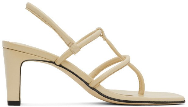 Beige Thong Heeled Sandals