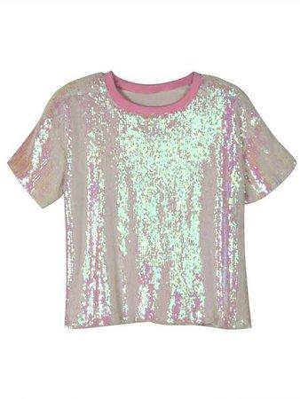 pink sequin tee shirt