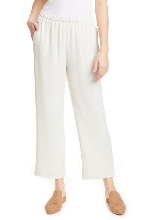 Straight Leg Silk Ankle Pants