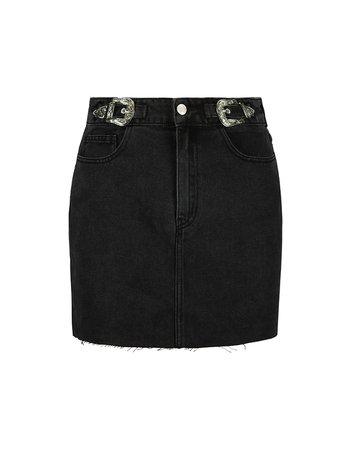 Black Denim Skirt with Western Buckles