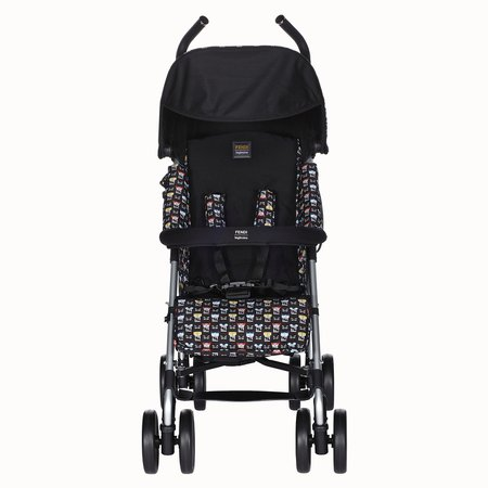 Blue stroller in fire-resistant material with monster pattern - STROLLER | Fendi