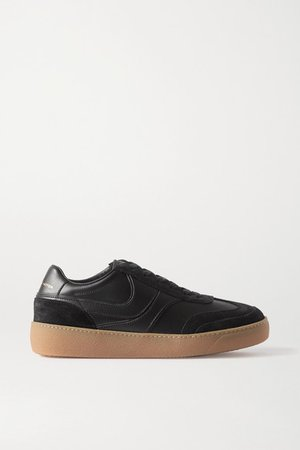 Leather And Suede Sneakers - Black