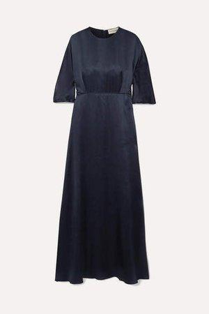 Silk-satin Maxi Dress - Midnight blue