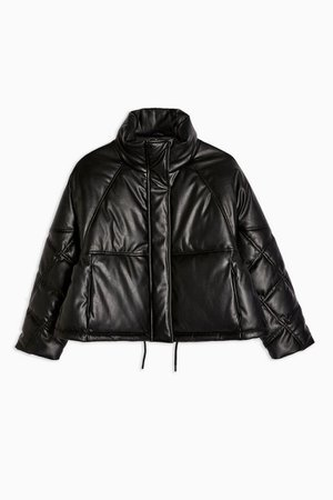 Faux Leather Padded Puffer Jacket | Topshop