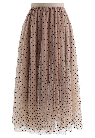 Full Polka Dots Double-Layered Mesh Tulle Skirt in Caramel - Retro, Indie and Unique Fashion