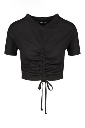 Ruched Front Collar Detail Ribbed Top | boohoo