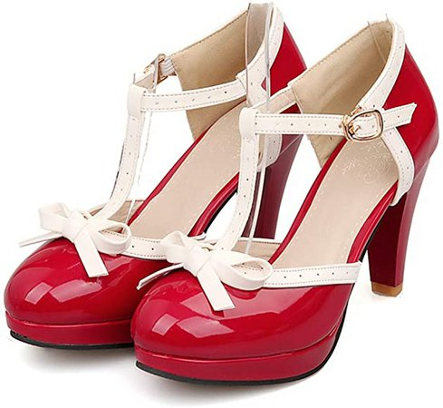 Amazon.com | Robasiom Fashion T Strap Bows Womens Platform High Heel Pumps Shoes 9B(M)US Red | Pumps