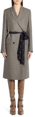 Logo Belt Wool Coat