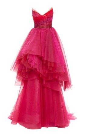 Strapless Asymmetric Tulle Gown by Monique Lhuillier   Moda Operandi