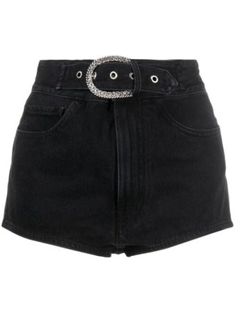 Shop black Alessandra Rich belted high waist denim shorts with Express Delivery - Farfetch