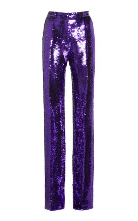 High-Waisted Sequin-Embellished Trousers