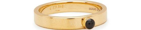 CELINE gold finish brass tecknicolor ring