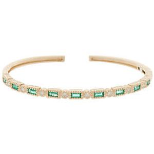 14K Baguette Gemstone & DiamondCuff Bracelet for $2,199.00 available on URSTYLE.com