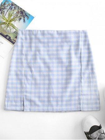 [40% OFF] [HOT] 2020 Back Zipper Plaid Slit Mini Skirt In BLUE GRAY | ZAFUL