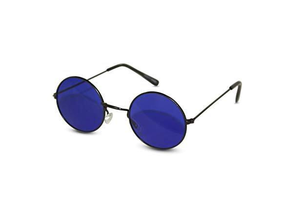 Amazon.com: John Lennon Sunglasses Round Hippie Shades Retro Colored Lenses Retro Party (Black frame w/ Blue Lens): Shoes