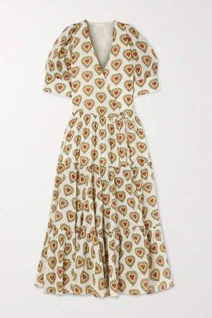 Gina Tiered Printed Cotton Wrap Midi Dress - Ivory