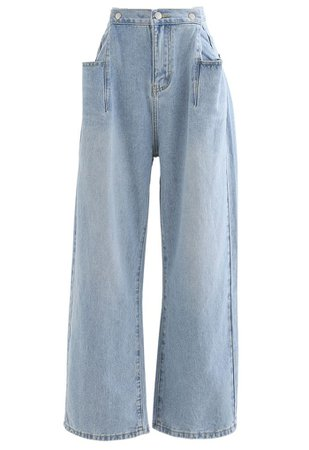 Patched Pockets High-Waisted Wide-Leg Jeans - Retro, Indie and Unique Fashion