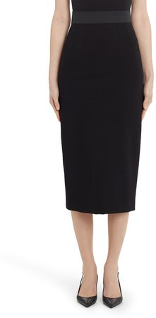 Stretchy Jersey Midi Pencil Skirt