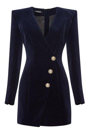 Balmain - Velvet Mini Dress - blue
