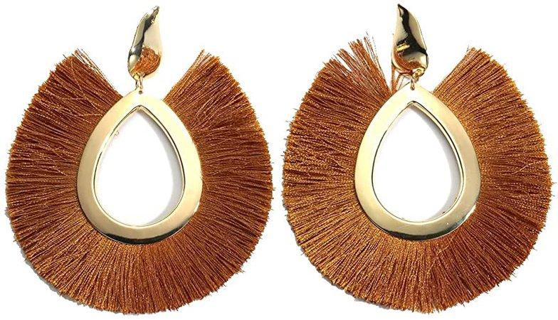 Amazon.com: MOOCHI Deep Green Women's Bohemian Tassel Hanging Fringe Fashion Oval Vintage Earrings: Jewelry