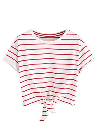 ROMWE Women's Knot Front Cuffed Sleeve Striped Crop Top Tee T-shirt, White & Red, X-Large(US 12-14) at Amazon Women's Clothing store: