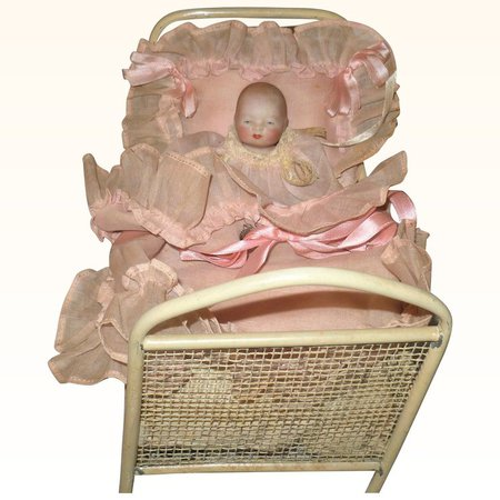 4.5 Inch All Bisque Girl Baby Bye-Lo with Label in Presentation Crib : aMERicana & wHimsy | Ruby Lane