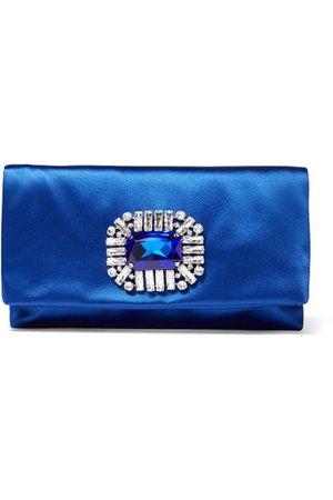 Jimmy Choo | Tatiania crystal-embellished satin clutch | NET-A-PORTER.COM