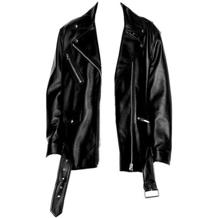 *clipped by @luci-her* Black Leather Biker Jacket