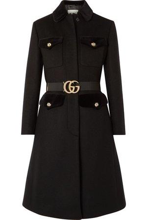 Gucci | Belted velvet-trimmed wool-blend felt coat | NET-A-PORTER.COM