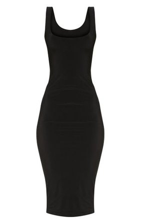 Black Slinky Strappy Midi Dress | Dresses | PrettyLittleThing