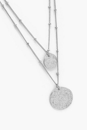 Textured Disc Layered Necklace | Boohoo