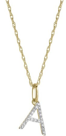 STONE AND STRAND Large Pave Diamond Initial Charm Necklace