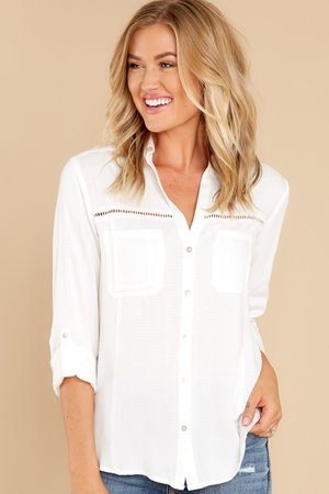Breezy White Button Up Top - Blouses   Red Dress