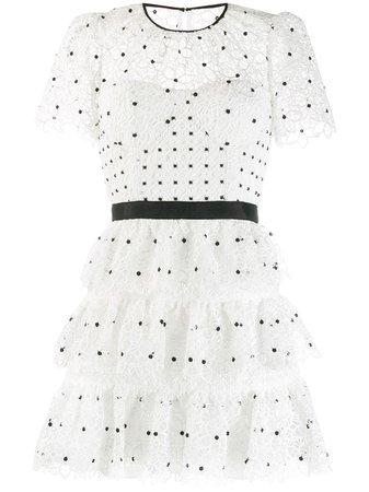 Self-Portrait Tiered Polka-Dot Dress | Farfetch.com