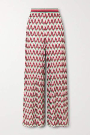 Crochet-knit Lurex Wide-leg Pants - Red