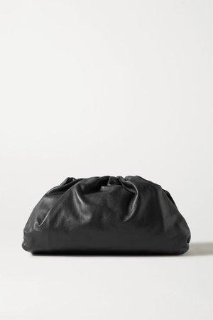 Black  large gathered leather clutch   Bottega Veneta   NET-A-PORTER
