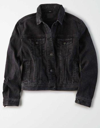 AE Black Denim Jacket black