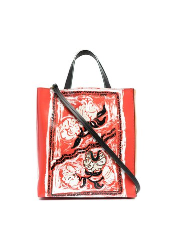 Shop yellow & red Marni abstract print tote bag with Express Delivery - Farfetch