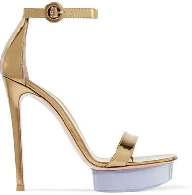 Godiva 135 Metallic Leather And Perspex Platform Sandals - Gold