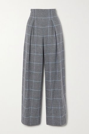 Dark gray Prince of Wales checked cashmere wide-leg pants | YOOX NET-A-PORTER For The Prince's Foundation | NET-A-PORTER