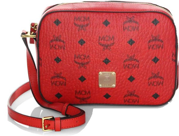 red mcm purse